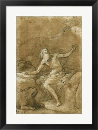 Framed Saint Jerome Hearing the Trumpet of the Last Judgement - posed Print
