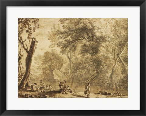 Framed Woodland Landscape with Nymphs and Satyrs Print