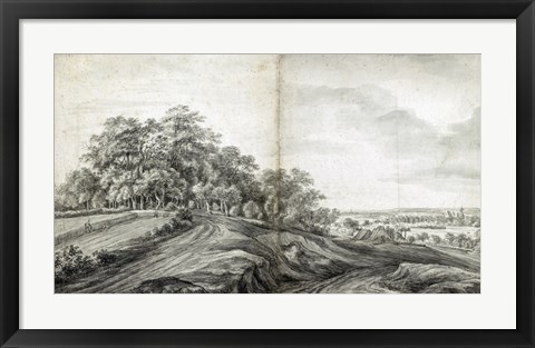 Framed Landscape with Haymakers Print