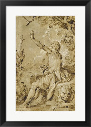 Framed Saint Jerome Hearing the Trumpet of the Last Judgement Print