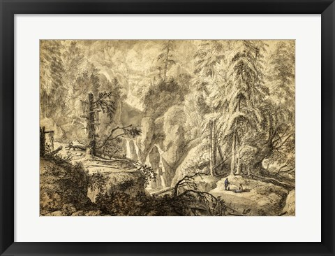 Framed Mountain Landscape, Peasants in a Clearing near a Waterfall Print