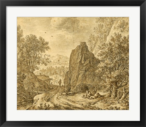 Framed Mountain Landscape with Figures Print