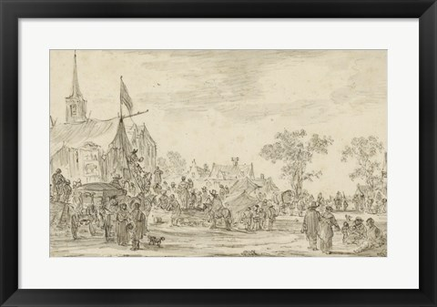 Framed Village Festival with Musicians Playing Outside a Tent Print