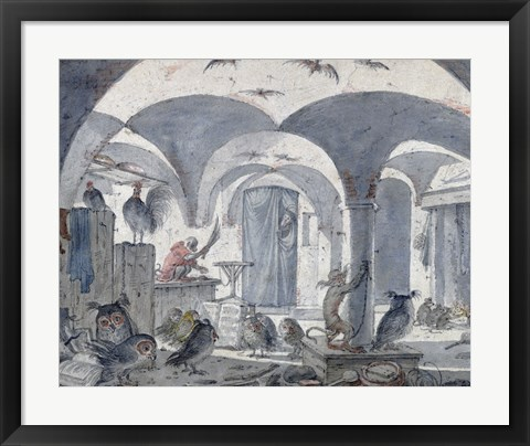 Framed Enchanted Cellar with Animals Print
