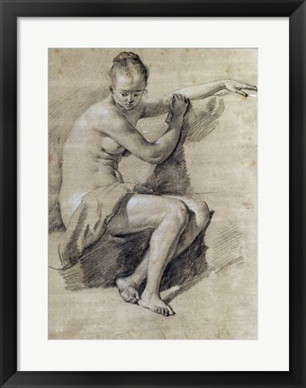 Framed Seated Female Nude Print