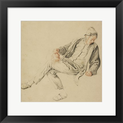 Framed Seated Peasant Print