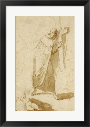 Framed Monk Carrying a Cross Print