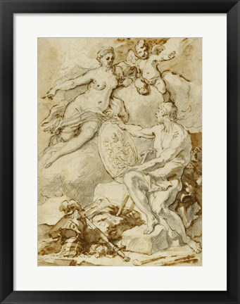 Framed Venus Receiving from Vulcan the Arms of Aeneas Print
