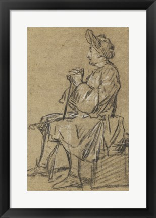 Framed Study of a Seated Man Print