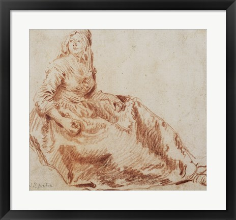 Framed Study of a Seated Woman Print