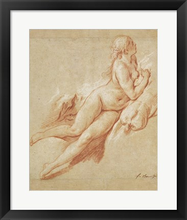 Framed Study of a Reclining Nude Print