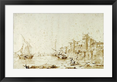 Framed Imaginary View of a Venetian Lagoon Print