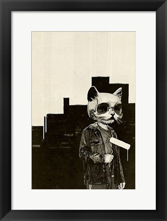 Framed Roller Cat Print