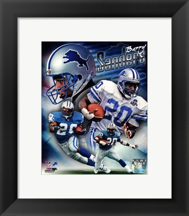 Framed Barry Sanders 2013 Portrait Plus Print