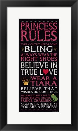 Framed Princess Rules - Black Print