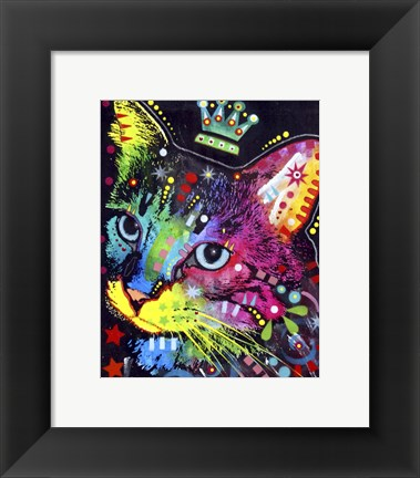Framed Thinking Cat Crowned Print