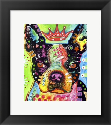 Framed Boston Terrier Crowned Print
