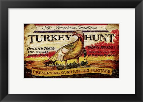 Framed Turkey Hunt Print