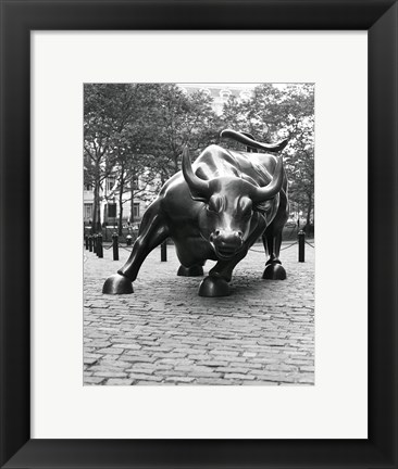 Framed Wall Street Bull Sculpture 1 Print