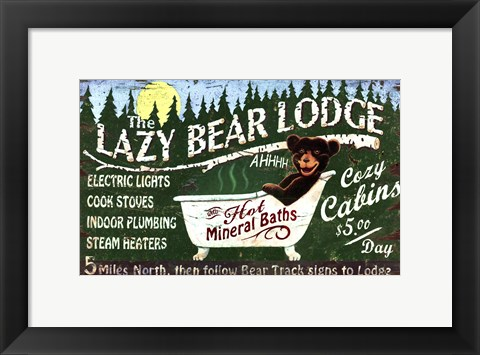 Framed Lazy Bear Print