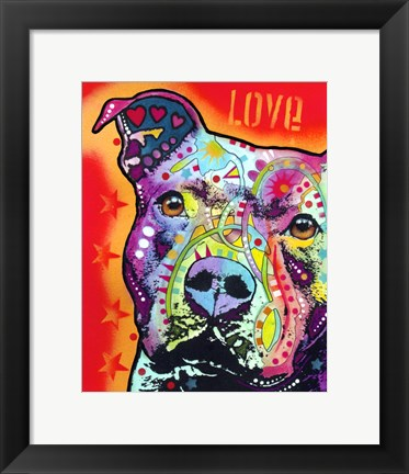 Framed Thoughtful Pit Bull 2 Print