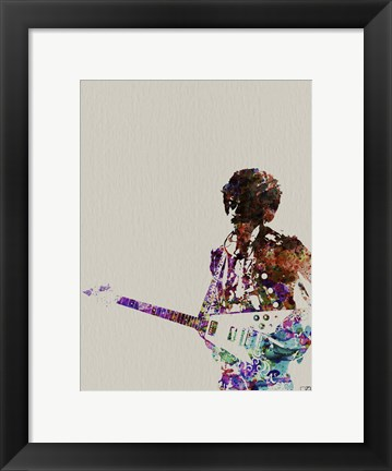 Framed Hendrix with Guitar Watercolor Print