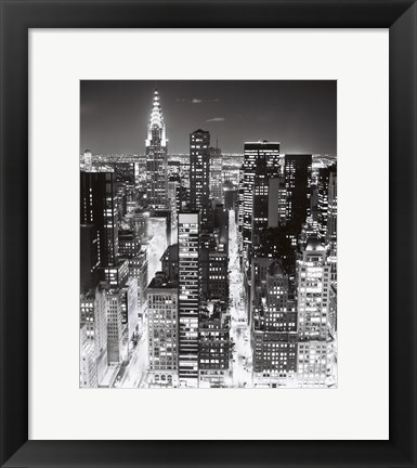 Framed Night Skyline NYC Print