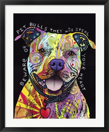 Framed Beware of Pit Bulls Print