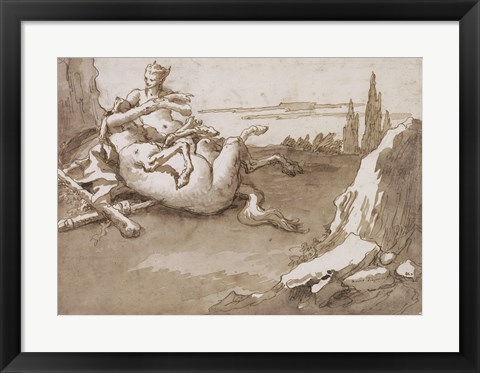 Framed Centaur and a Female Faun in a Landscape Print
