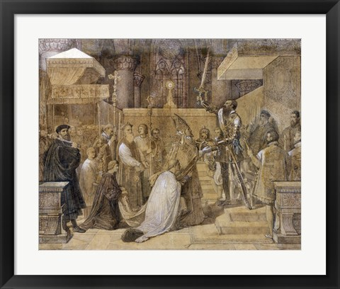 Framed Duke of Alba Receiving the Pope's Blessing in the Cathedral of St.Gudule Print