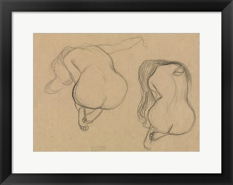 Framed Two Studies of a Seated Nude with Long Hair Print
