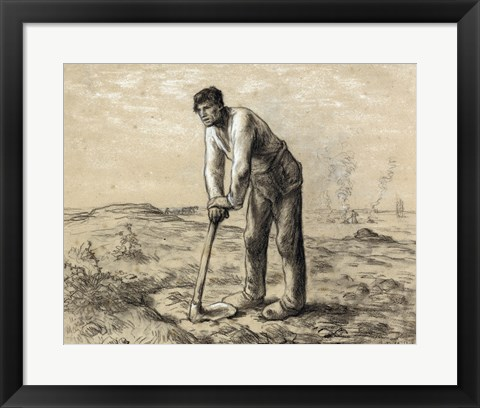 Framed Man with a Hoe Print