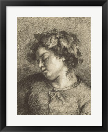 Framed Head of a Sleeping Bacchante Print