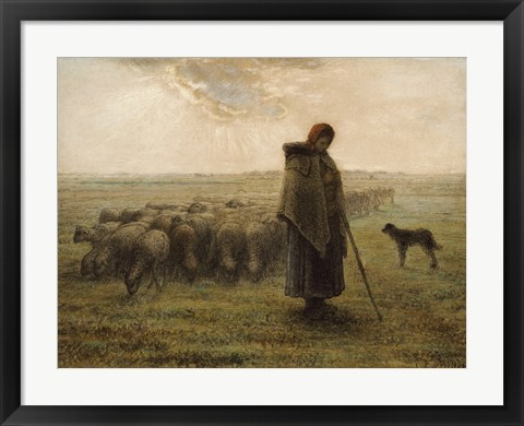 Framed Shepherdess and Her Flock Print