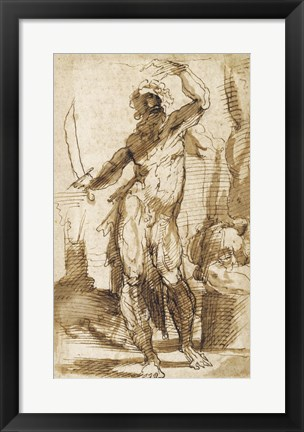 Framed Study for the Figure of Abraham Print