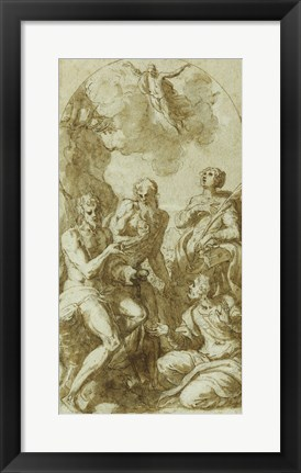 Framed Christ the Savior above Saints John the Baptist, Jerome, Catherine, and Thomas Print