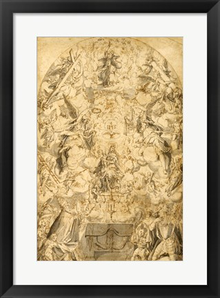Framed Madonna and Child with Angels Bearing Symbols of the Passion Print