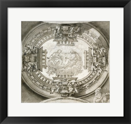 Framed Study for a Ceiling with the Virgin and Christ in Glory Print