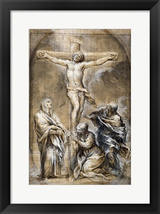 Framed Christ on the Cross with the Virgin Mary Print