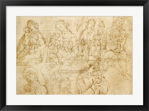 Framed Studies of the Virgin and Child Print