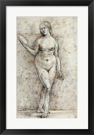 Framed Nude Woman with a Mirror Print