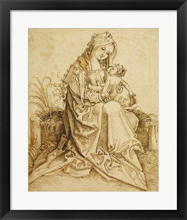 Framed Virgin and Child on a Grassy Bench Print