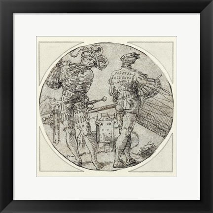 Framed Flutist and Drummer Before a Moated Castle Print