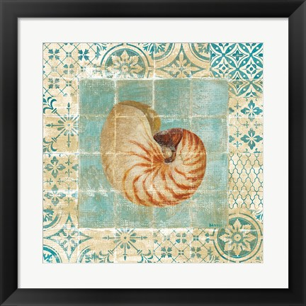 Framed Shell Tiles III Blue Print