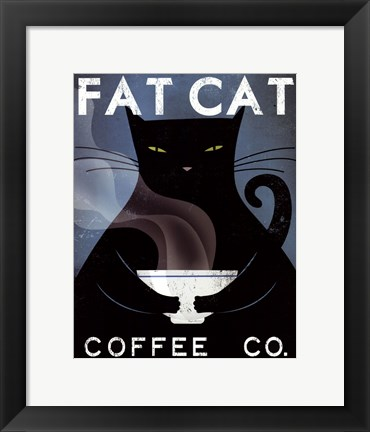 Framed Cat Coffee no City Print