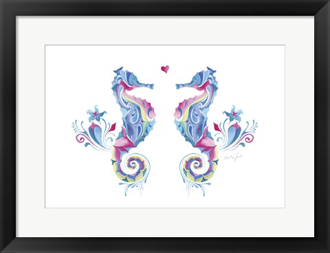 Framed Sea Horses in Love Print