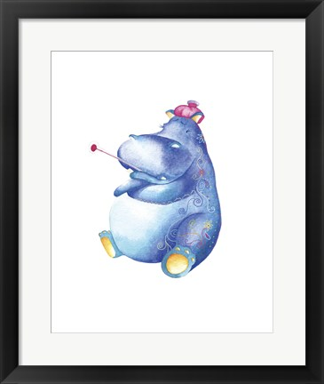 Framed Jane Hippo Print