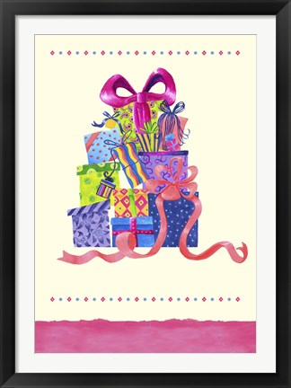 Framed Stack Of Gifts Print