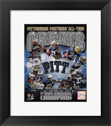 Framed University of Pittsburgh Panthers All Time Greats Print