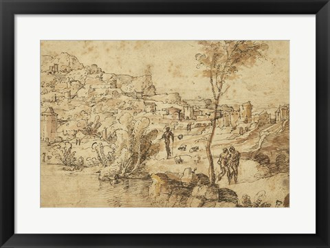 Framed Landscape with Shepherds by a River and a Town Beyond Print